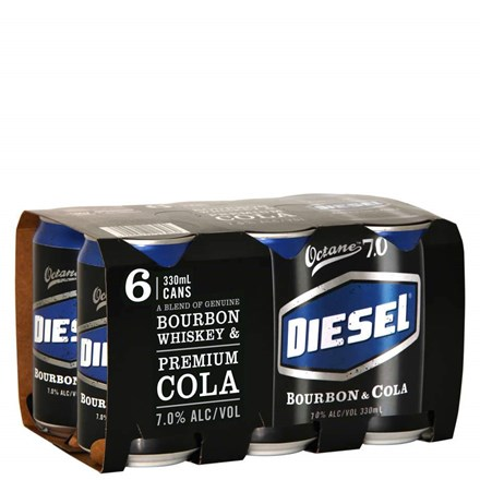 DIESEL AND COLA 7% 330ML 6PK CANS DIESEL AND COLA 7% 330ML 6PK CANS
