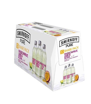 SMIRNOFF PURE PASSION FRUIT & LIME 10PKBOTTLES SMIRNOFF PURE PASSION FRUIT & LIME 10PKBOTTLES