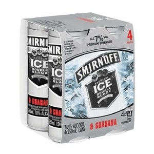 SMIRNOFF 7% VODKA N GUARANA 4PK CANS 250ML SMIRNOFF 7% VODKA N GUARANA 4PK CANS 250ML