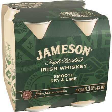JAMESON WHISKY AND DRY LIME 4PK 375MLCANS JAMESON WHISKY AND DRY LIME 4PK 375MLCANS