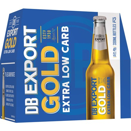 DB EXPORT GOLD EXTRA LOW CARBS 12PK BOTTLES 330ML DB EXPORT GOLD EXTRA LOW CARBS 12PK BOTTLES 330ML
